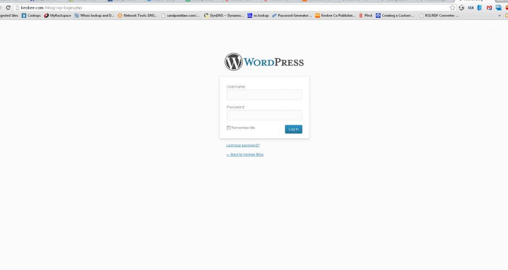 The WordPress login screen appears!