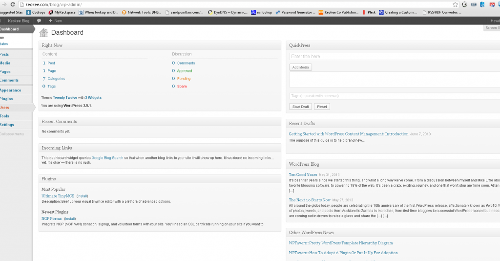 The WordPress dashboard.  We'll cover this more in the next part of the guide!