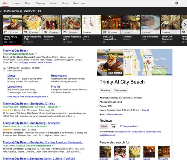 sandpoint restaurants google carousel search