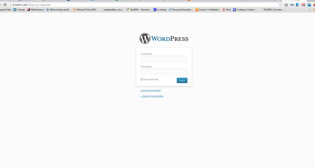 The WordPress login screen appears!